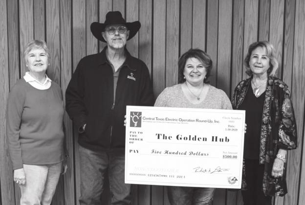 The Golden Hub recently received a $500 grant from Central Texas Electric Cooperative's Operation Round-Up Board. Pictured, from left, are Sheila Brand of the Operation Round-Up board, Joby Wieser of the CTEC board; Denise Usener, director of the Golden Hub; and Doylene Bode of the CTEC board. — Submitted photo