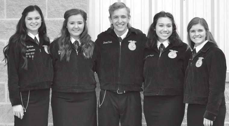 The Agricultural Issues team for Fredericksburg FFA consisted of, from left, Sadie Hardison, Faith Geistweidt, Daniel Raab, Karlee Reyes and Brittley Bowers took 10th place in state.