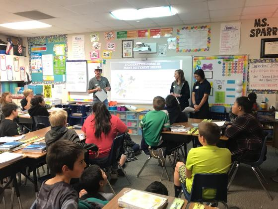 Presenting a program on e-cigarettes, vaping and nicotine addiction to Fredericksburg Elementary School fifth graders were Healthy Texas Youth Ambassadors, from left, Daniel Raab, Karlie Nebgen and Alexandria Sione. — Submitted photo