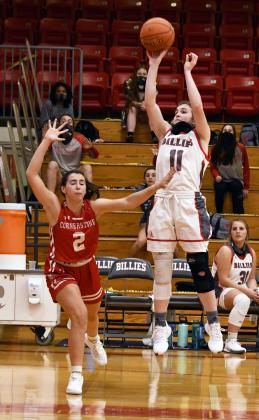 Bowers gets a jumper on Tuesday, Nov. 10 against Cornerstone Christian. Bowers hit her 1,000th career point in an empty gym. — Standard-Radio Post/ McKenzie Moellering