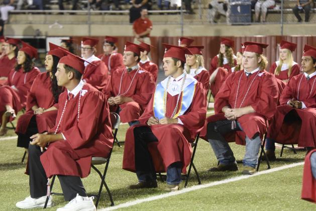 Fredericksburg High School Class of 2020 members gathered together for in-person graduation ceremonies on Friday night at FHS Stadium. Friday night's ceremony may have been different from previous years due to the COVID-19 pandemic, including the seating arrangements. Among the graduates taking part in the ceremony were, in front from left, Jaxon Langford, Hunter Metzger, Jayson Parker, AJ Rawls, (second row) Aaliyah Partida, Davis Reeh, Molly Ross, Josie Shaw, Avery Stephens, and (in back) Ximena Saldaña,