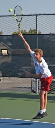 FHS's David Lindsay serves up a ball during his match against Davenport in early October at the Fredericksburg High School H-E- B Tennis Courts. — Standard- Radio-Post/Samuel Sutton