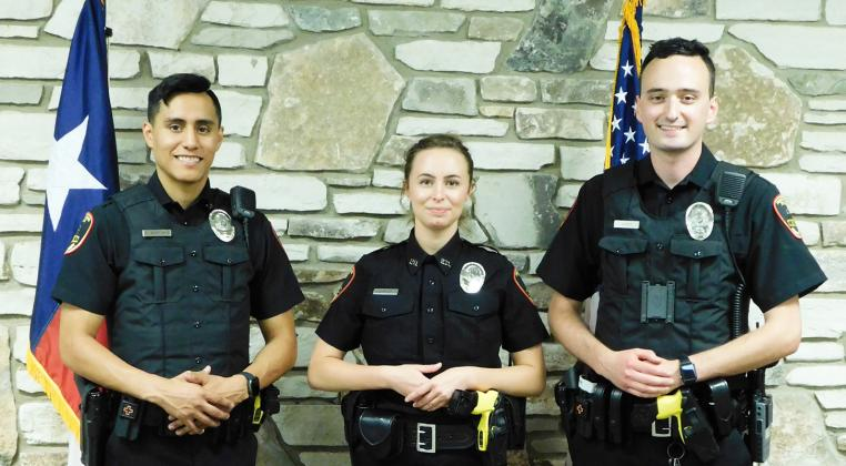 Fredericksburg Police Department introduced three new officers Tuesday, June 2. Pablo Martinez, left, Haley Hashaw and Harry Dawes were sworn in. — Submitted photo