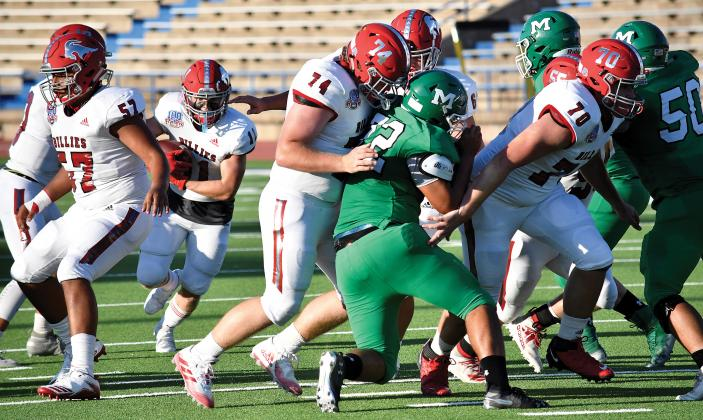 A large part of the Billies win over Monahans was Fredericksburg's offensive line blowing open holes for FHS running backs. Clearing out room for back Gavin French throughout the game were Yorde Hernandez (57), Kolby Wright (74), Derek Whitworth (70), Rusty Price (64) and Davis Englert (55). – Standard-Radio Post/ Ken Esten Cooke