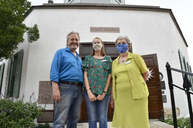Gillespie County Historical Society staff members — including executive director Dr. Jeryl Hoover, curator Lacey LeBleu and archivist Evelyn Weinheimer — are responsible for the renovation of the Vereins Kirche, a local building considered as the symbol of Fredericksburg. — Standard-Radio Post/Joshua McKinney