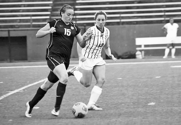 Kami Jones, a graduate of Fredericksburg Heritage School, is shown during a recent women's soccer match as a player for Hardin-Simmons University. She had 23 goals and 16 assists this year for the Cowgirls. — Photo courtesy of Hardin-Simmons University