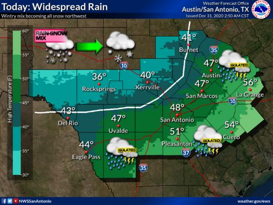 Rain continues to fall in Gillespie County, and the National Weather Service predicts more, as well as a chance for snow throughout the rest of New Year's Eve. — National Weather Service graphic